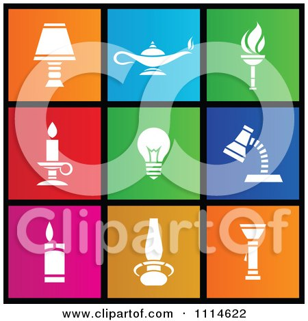 Clipart Set Of Colorful Square Light Metro Style Icons - Royalty Free Vector Illustration by cidepix