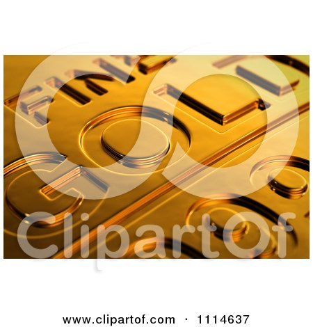 Clipart 3d Gold Bar Seen With Shallow Depth Of Field - Royalty Free CGI Illustration by stockillustrations