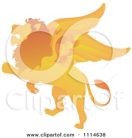 Clipart Golden Winged Lion Rearing - Royalty Free Vector Illustration by Pams Clipart