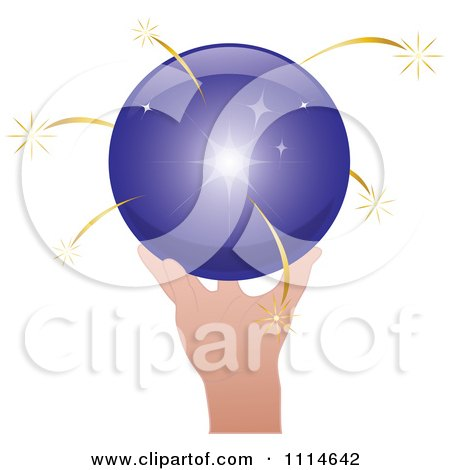 Clipart Hand Holding A Shiny Purple Sphere With Gold Sparks - Royalty Free Vector Illustration by Pams Clipart