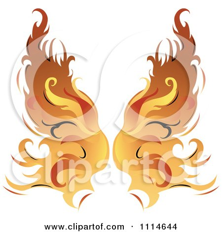 Clipart Pair Of Flaming Golden Wings - Royalty Free Vector Illustration by Pams Clipart