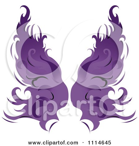 Clipart Pair Of Flaming Purple Wings - Royalty Free Vector Illustration by Pams Clipart