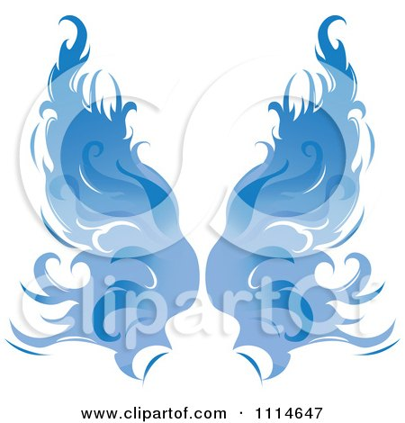 Clipart Pair Of Flaming Blue Wings - Royalty Free Vector Illustration by Pams Clipart