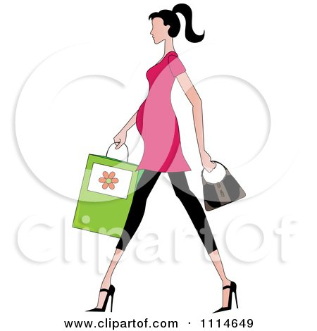 Clipart Slender Dark Haired Pregnant Woman Walking With A Shopping Bag And Purse - Royalty Free Vector Illustration by Pams Clipart