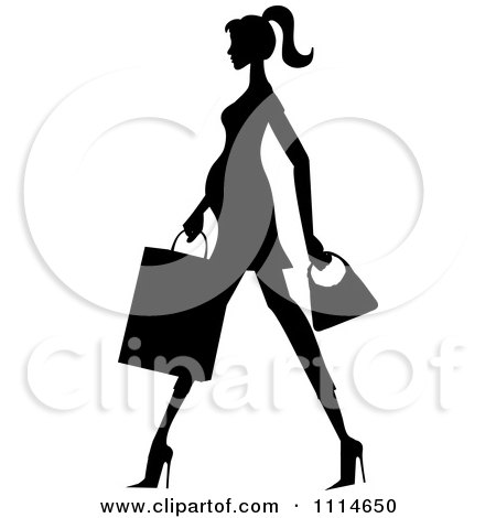 Clipart Slender Silhouetted Pregnant Woman Walking With A Shopping Bag And Purse - Royalty Free Vector Illustration by Pams Clipart