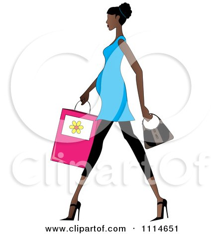 Clipart Slender African American Pregnant Woman Walking With A Shopping Bag And Purse - Royalty Free Vector Illustration by Pams Clipart