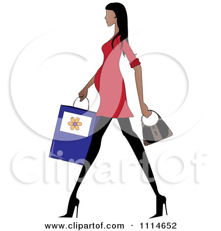 Clipart Slender Hispanic Pregnant Woman Walking With A Shopping Bag And Purse - Royalty Free Vector Illustration by Pams Clipart