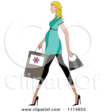 Clipart Slender Blond Pregnant Woman Walking With A Shopping Bag And Purse - Royalty Free Vector Illustration by Pams Clipart