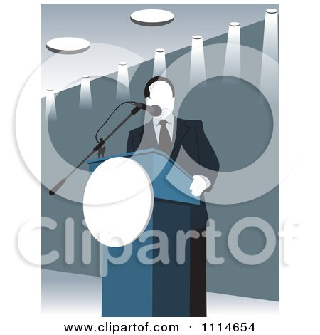 Clipart Politician Speaking At A Podium In Blue Tones - Royalty Free Vector Illustration by David Rey
