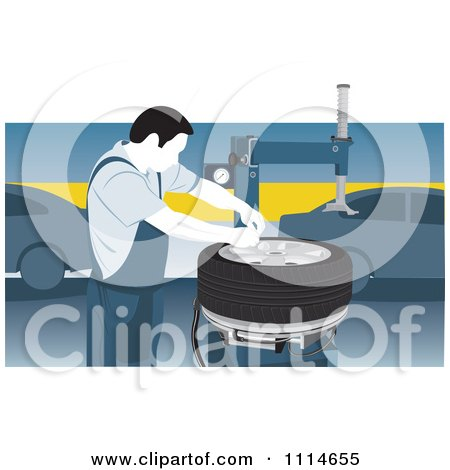 Clipart Mechanic Working On A Tire In A Car Garage - Royalty Free Vector Illustration by David Rey