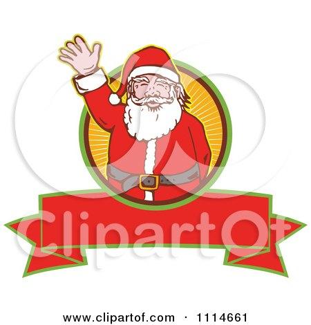 Clipart Retro Waving Santa Over A Ray Circle And Blank Banner - Royalty Free Vector Illustration by patrimonio