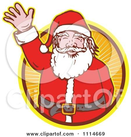 Clipart Retro Waving Santa In An Orange Ray Circle - Royalty Free Vector Illustration by patrimonio