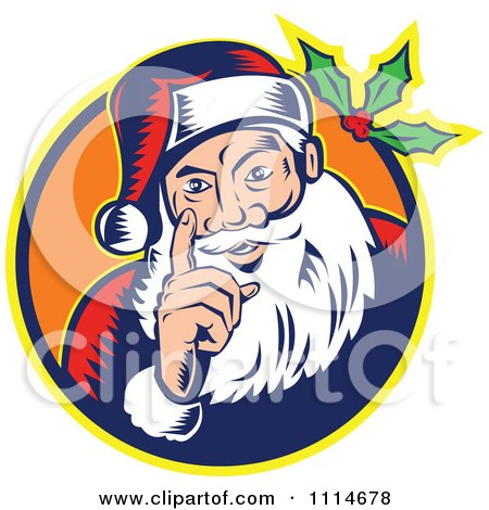 Clipart Retro Santa Holding Up A Finger In An Orange Circle With Holly - Royalty Free Vector Illustration by patrimonio