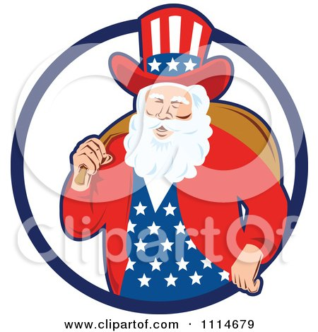 Clipart Patriotic American Or Uncle Sam Santa With A Bag In A Blue Ring - Royalty Free Vector Illustration by patrimonio
