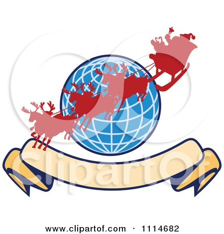Clipart Silhoeutted Santa And Reindeer Over A Blue Globe With A Blank Banner - Royalty Free Vector Illustration by patrimonio