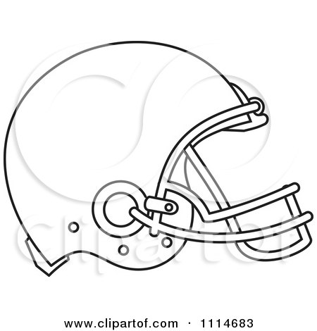 Football Helmet Outline Outlined American Football