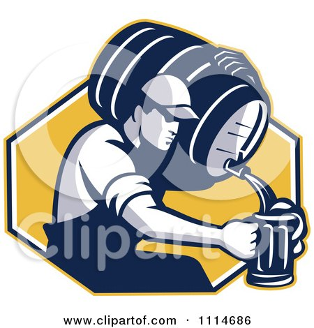 Clipart Retro Man Pouring Beer Into A Mug From A Keg Over A Yellow Hexagon - Royalty Free Vector Illustration by patrimonio