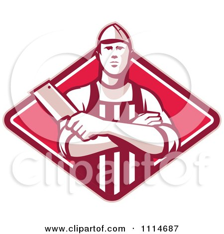 Clipart Retro Butcher Holding A Cleaver In Folded Arms Over A Red Diamond - Royalty Free Vector Illustration by patrimonio