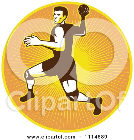 Clipart Retro Handball Player Over A Circle Of Rays - Royalty Free Vector Illustration by patrimonio