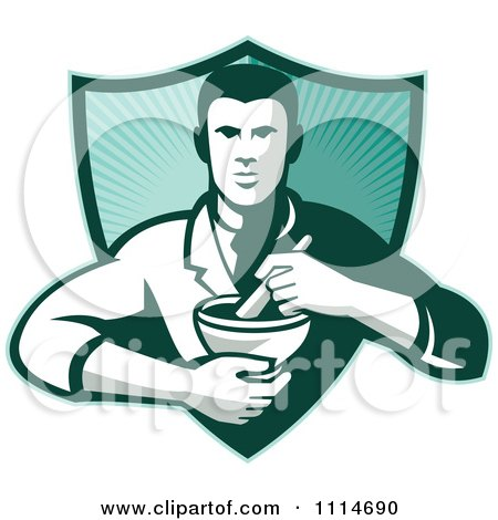 Clipart Retro Pharmacist Holding A Mortar And Pestle Over A Ray Shield - Royalty Free Vector Illustration by patrimonio
