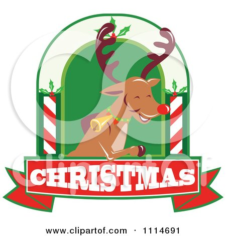 Clipart Christmas Rudolph Reindeer Over A Christmas Banner - Royalty Free Vector Illustration by patrimonio