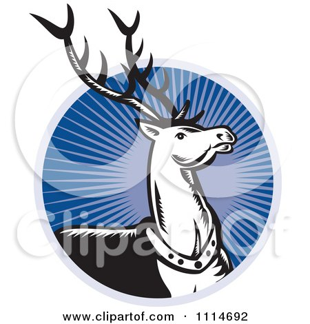 Clipart Retro Christmas Reindeer Over A Blue Ray Circle - Royalty Free Vector Illustration by patrimonio
