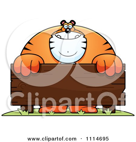 Clipart Buff Tiger Behind A Wooden Sign - Royalty Free Vector Illustration by Cory Thoman