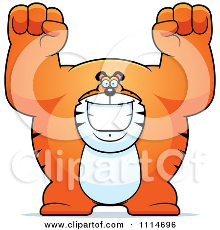 Clipart Excited Buff Tiger Cheering - Royalty Free Vector Illustration by Cory Thoman