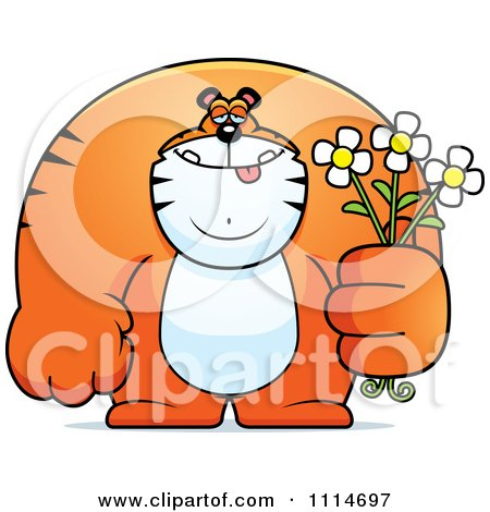 Clipart Buff Tiger Holding Flowers - Royalty Free Vector Illustration by Cory Thoman