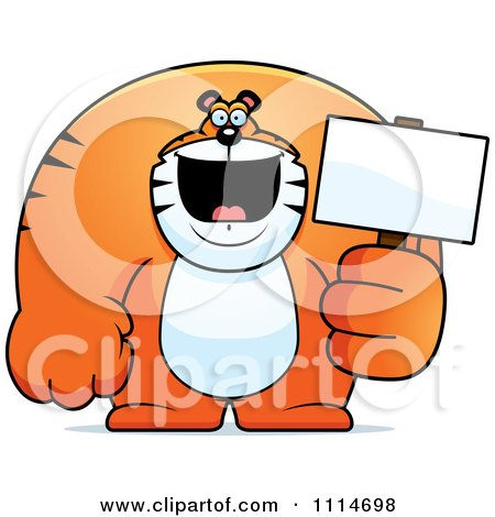 Clipart Buff Tiger Holding A Blank Sign 2 - Royalty Free Vector Illustration by Cory Thoman