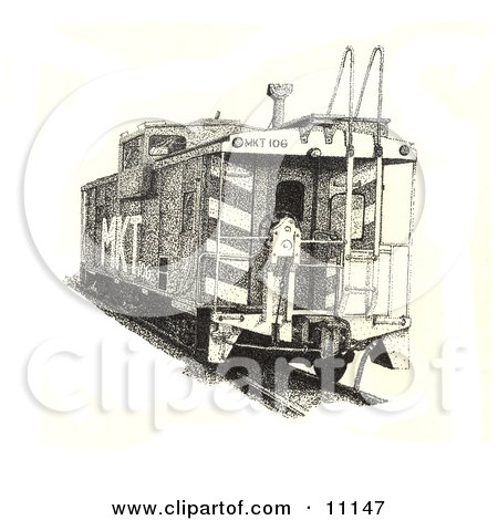 Ink Dot Design Of A Train Caboose Clipart Illustration