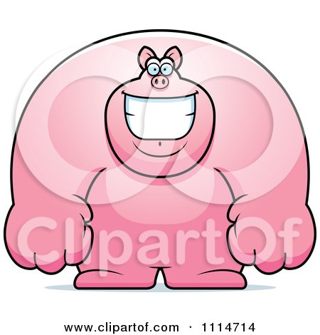 Clipart Happy Buff Pig Smiling - Royalty Free Vector Illustration by Cory Thoman