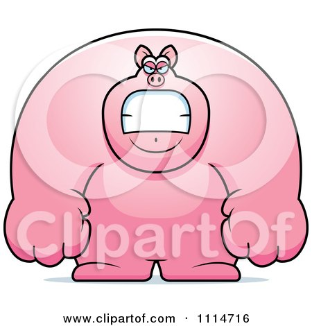 Clipart Angry Buff Pig - Royalty Free Vector Illustration by Cory Thoman