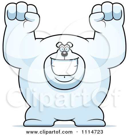 Clipart Excited Buff Polar Bear Cheering - Royalty Free Vector Illustration by Cory Thoman