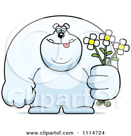 Clipart Buff Polar Bear Holding Flowers - Royalty Free Vector Illustration by Cory Thoman