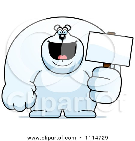 Clipart Buff Polar Bear Holding A Sign 2 - Royalty Free Vector Illustration by Cory Thoman