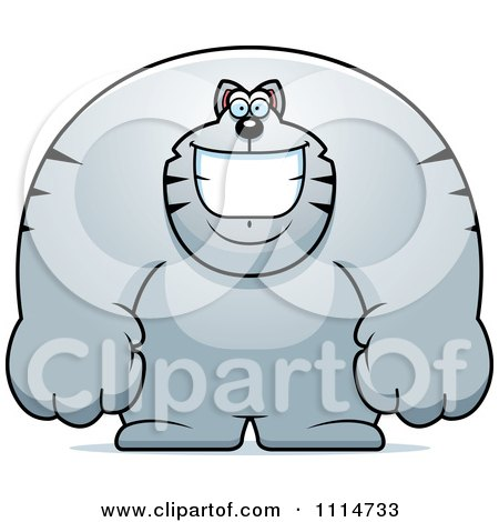 Clipart Happy Buff Gray Cat Smiling - Royalty Free Vector Illustration by Cory Thoman