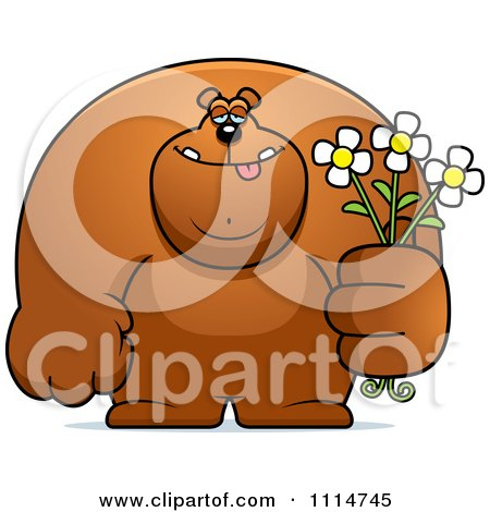 Clipart Buff Bear Holding Flowers - Royalty Free Vector Illustration by Cory Thoman