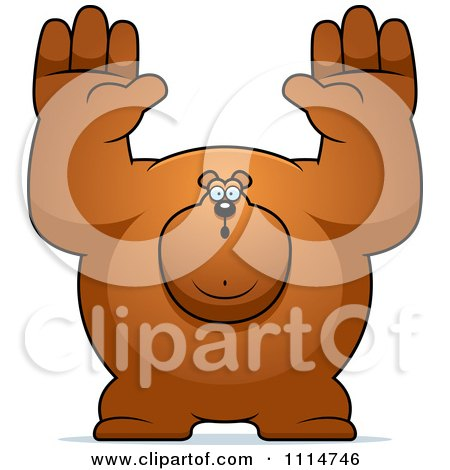 Clipart Buff Bear Holding His Hands Up - Royalty Free Vector Illustration by Cory Thoman