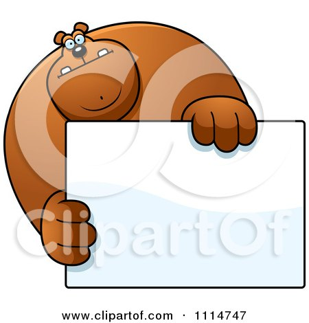Clipart Buff Bear Holding A Sign 1 - Royalty Free Vector Illustration by Cory Thoman