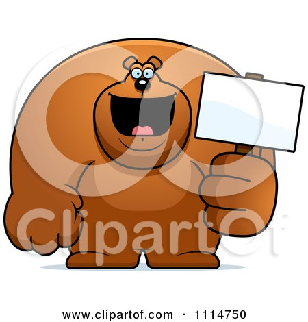 Clipart Buff Bear Holding A Sign 2 - Royalty Free Vector Illustration by Cory Thoman