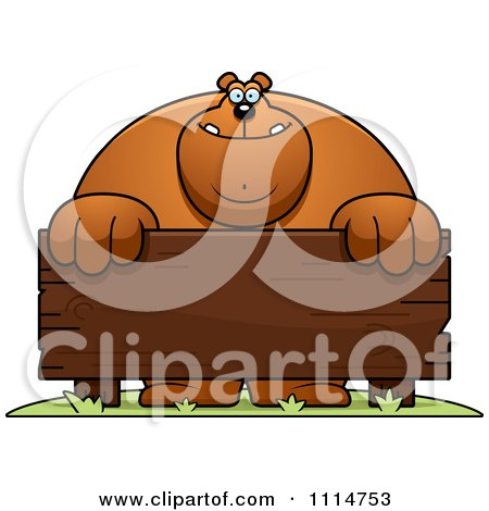 Clipart Buff Bear Behind A Wooden Sign - Royalty Free Vector Illustration by Cory Thoman