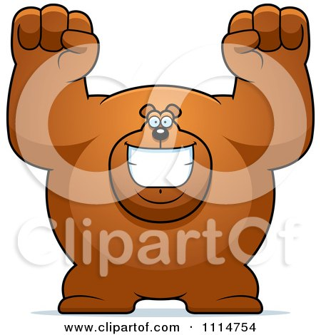 Clipart Excited Buff Bear - Royalty Free Vector Illustration by Cory Thoman