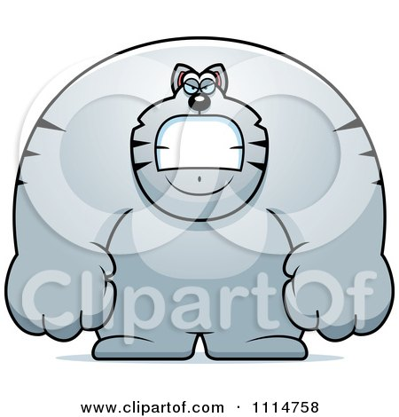 Clipart Angry Buff Gray Cat - Royalty Free Vector Illustration by Cory Thoman