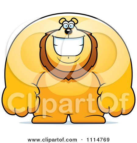 Clipart Happy Buff Lion Smiling - Royalty Free Vector Illustration by Cory Thoman