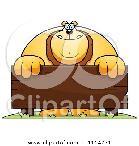 Clipart Buff Lion Behind A Wooden Sign - Royalty Free Vector Illustration by Cory Thoman