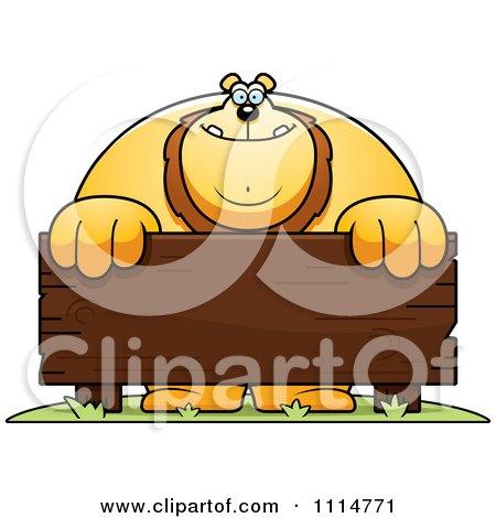 Buff Lion Buff lion behind a wooden sign