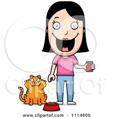 Clipart Happy Woman Feeding Her Cat - Royalty Free Vector Illustration by Cory Thoman