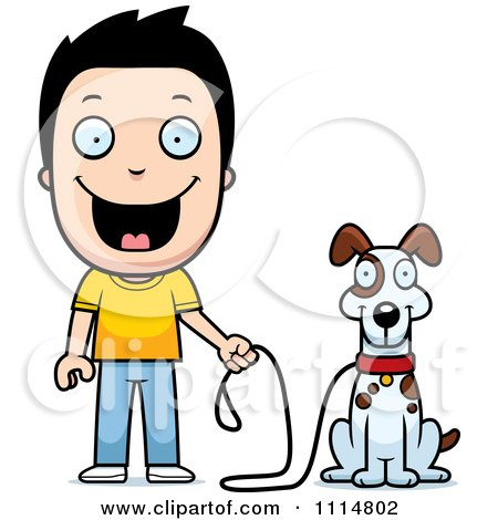Clipart Happy Boy Ready To Walk His Dog - Royalty Free Vector Illustration by Cory Thoman