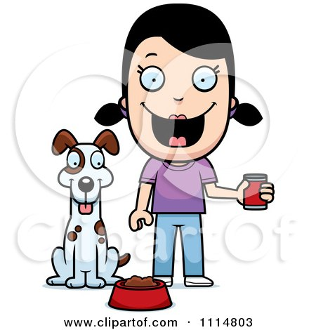 Clipart Happy Girl Feeding Her Dog - Royalty Free Vector Illustration by Cory Thoman